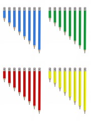 drawing pencils - four colors and 8 lengths each