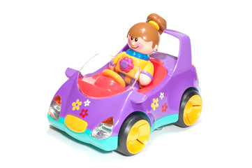 toy girl and car