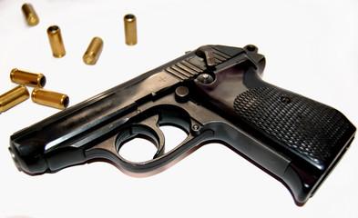 pistol and ammo closeup