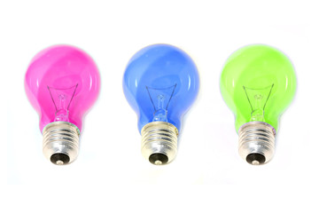 set of colored light bulbs