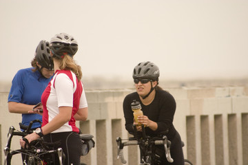 three women cyclists