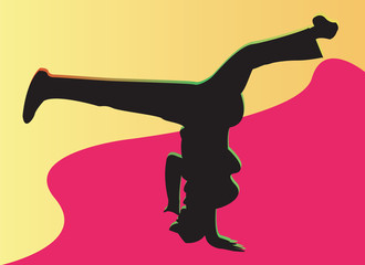 breakdancing red yellow background