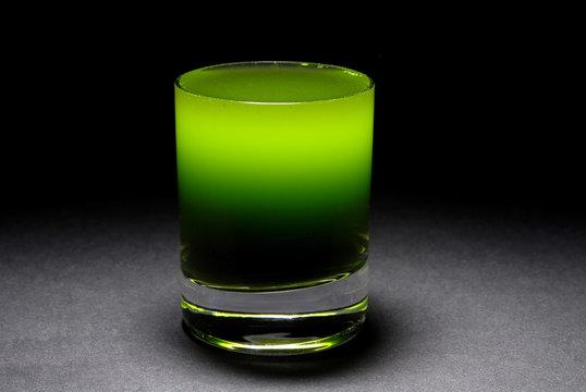 wheatgrass juice in shot glass