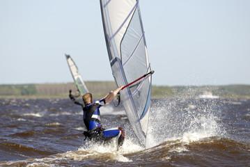 windsurfer on a lake