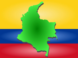 map of columbia and columbian flag illustration