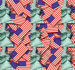 American Flag with Statue of Liberty background texture