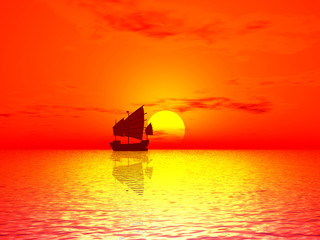 red sunset & boat