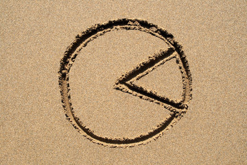 a pie chart drawn on a sandy beach.