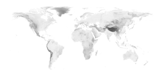 Deurstickers Wereldkaart world map with grayscale elevation