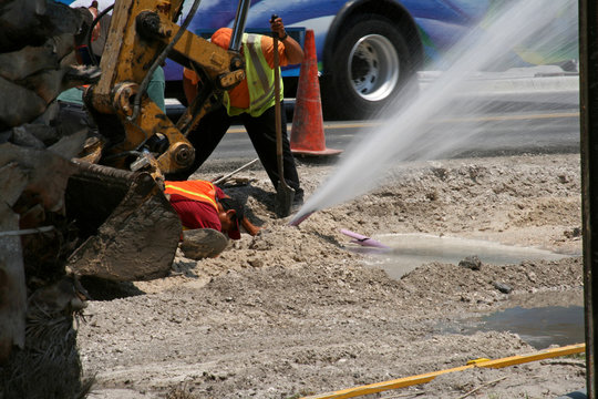 construction workers sprung a leak