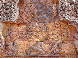detail of khmer stone carving for the ramayana story legend,  pr