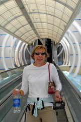 happy woman in tunnel