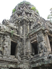 detail of khmer architecture,  the bayon, angkor tom, cambodgia
