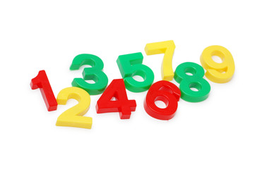 various digits isolated on the white background