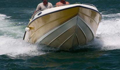 Garden Poster Water Motor sports speeding motorboat
