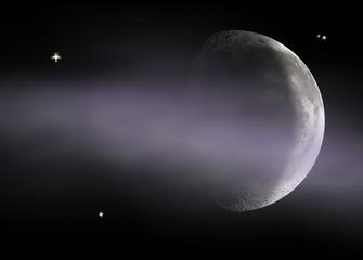 new moon through cloud
