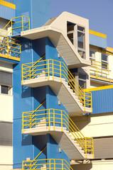 modern blue apartments block