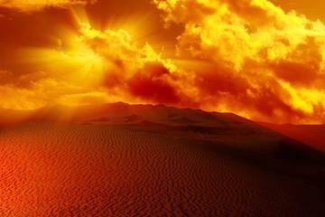 Poster Desert sunset in the desert