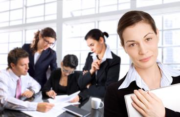 businesswomen and her team