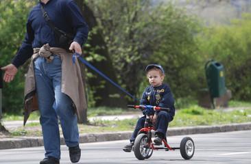 cute baby on bike