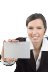 business woman presenting white card