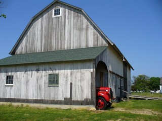 old barn with old antique car garaged