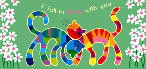 Motley cats in love