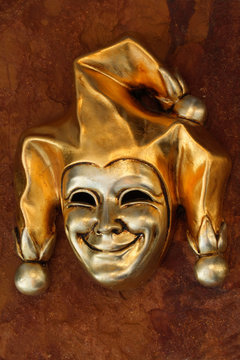 venetian mask of smiling harlequin