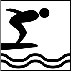 pictogramme piscine, plongeoir, natation