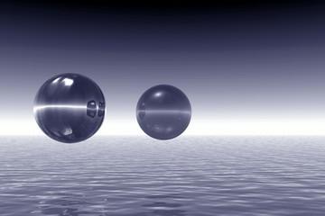 monochromatic landscape with balls