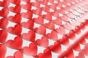 pavage coeurs rouge enchaînés brillants
