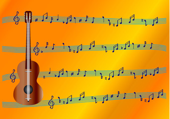 six-string guitar with musical signs. vector image.