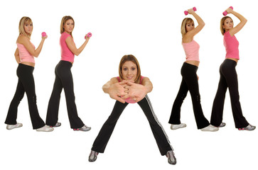 pretty girls doing fitness exercise