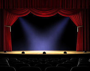 Wall Murals Theater curtain up