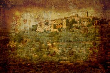 Garden Poster Brown italian village.