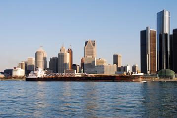 barge passing near downtown