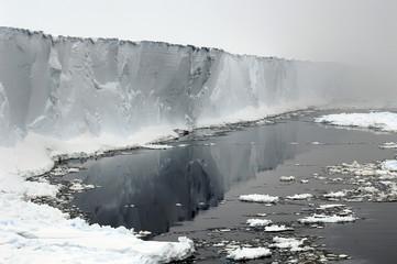 antarctic ice shelf in mists