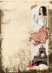 grunge album page with bride and eiffel tower