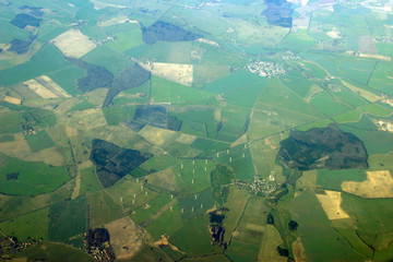 aerial view - windmills, fields and forests
