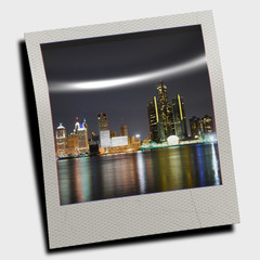 polaroid frame of city skyline
