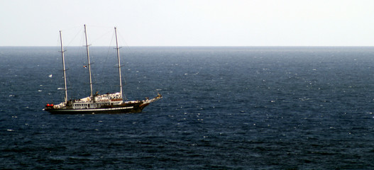old time looking sailboat in the ocean