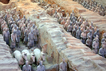 Stores à enrouleur Xian terracotta army in formation in xian, china