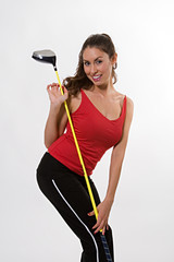 pretty brunette with a golf club