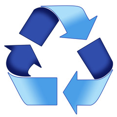 a blue recycle symbol