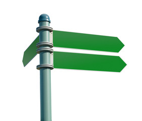 blank street sign post with 3 signs