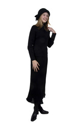 teenage girl in black dress