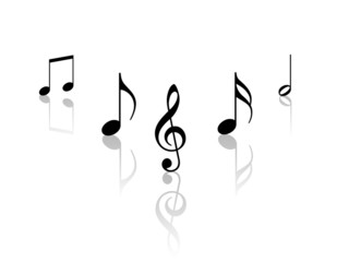music notes with reflection