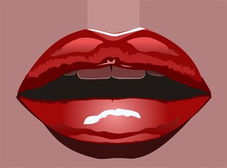 glossy red luscious lips
