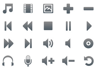 Titanium multimedia icon set, 20 smooth icons