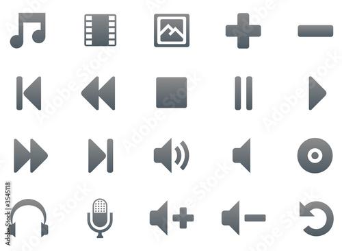 Titanium multimedia icon set, 20 smooth icons